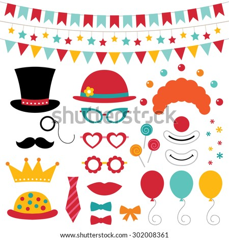 Circus vector photo booth props and decoration - stock vector