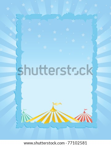 circus vintage poster. blue background - stock vector