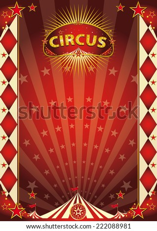 circus vintage rhombus poster. A retro circus poster with sunbeams for your entertainment.