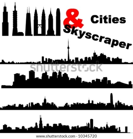 Cities and Skyscrapers - stock vector