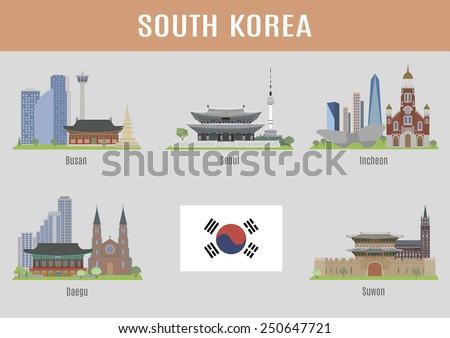 Cities in South Korea - stock vector