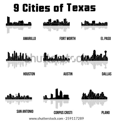 Cities of Texas ( Amarillo, Fort Worth, El Paso, Houston, Austin, Dallas, San Antonio, Plano, Corpus Cristi, Galveston, Abilene, Arlington, Lubbock, Midland, Beaumont ) - stock vector