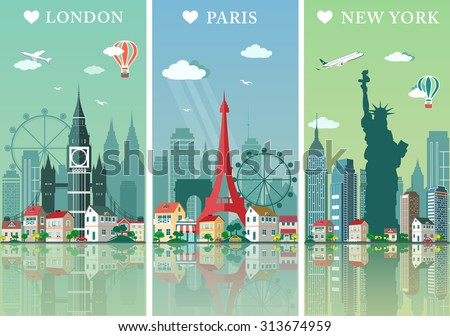 Cities skylines set. Flat landscapes vector illustration. London, Paris and New York silhouettes with landmarks.