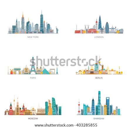 Cities skylines set. New York, London, Paris, Berlin, Moscow, Shanghai.  Vector illustration, flat style. - stock vector