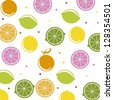 citrus icons over white background, pattern. vector illustration - stock vector