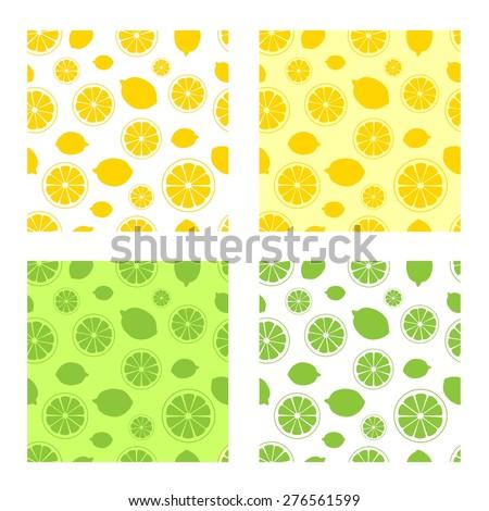 citrus, lemon, lime, vector illustration, texture - stock vector