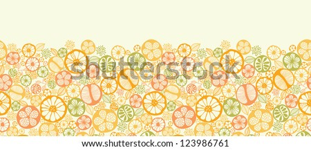 Citrus slices horizontal seamless pattern background border - stock vector