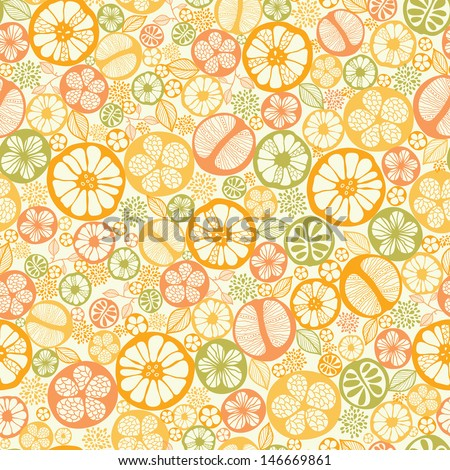 Citrus slices seamless pattern background - stock vector