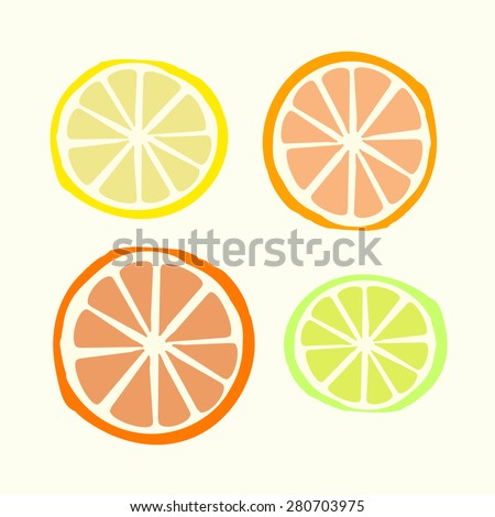 Citrus vector set with vector lemon sign, vector orange sign, vector lime sign, vector grapefruit sign