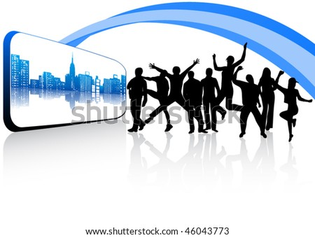 City, abstract and people vector - stock vector