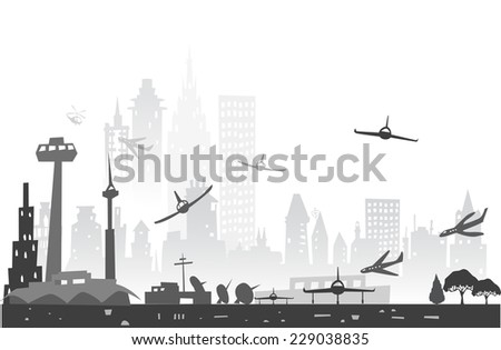 City airport and town made of buildings silhouettes - stock vector