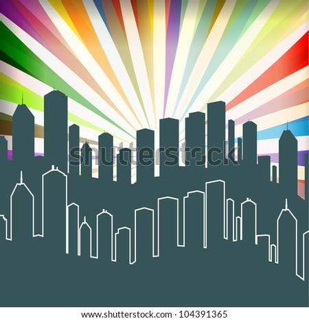 City and burst background vector for poster - stock vector