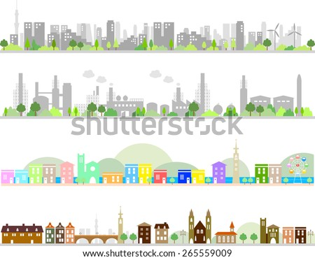 city and factory  - stock vector