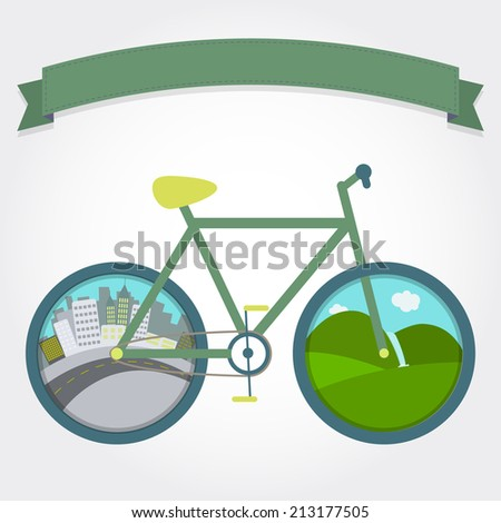 City and field in wheels of the bike. Several landscape for cycling. With a ribbon for insert text. Bike on city or field. - stock vector