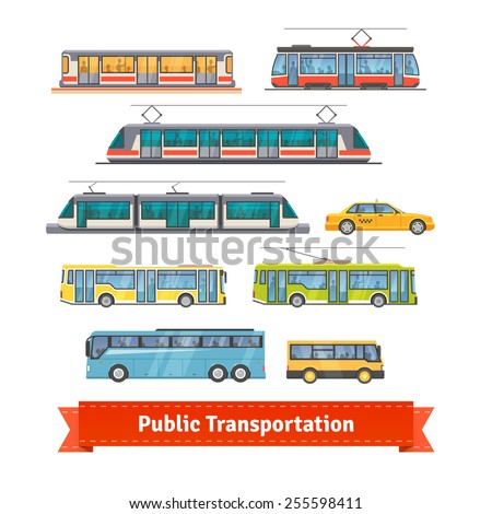 City and intercity transportation vehicles icon set. Trains, subway, buses and taxi. Flat style illustration or icon. EPS 10 vector. - stock vector
