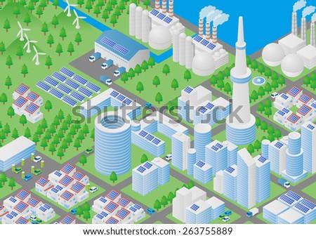 City and Logistics illustration - stock vector