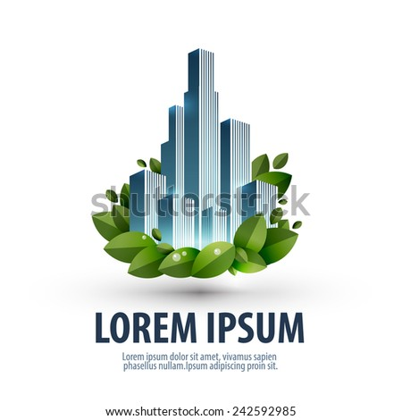 City and nature. logo, icon, emblem, template, business - stock vector