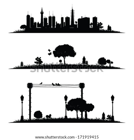 city and nature vector illustration - stock vector