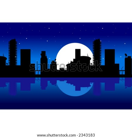 City and night - stock vector