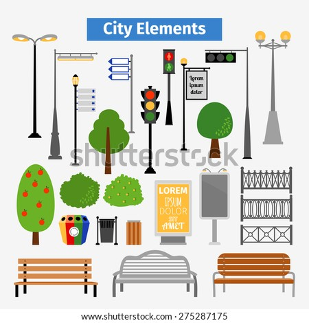 City and outdoor elements. Lamppost and container, bush and signboards, vector illustration - stock vector
