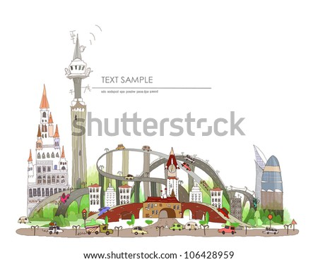 city and road background - stock vector