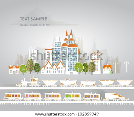 "City and road with cars ""White city"" collection - stock vector"