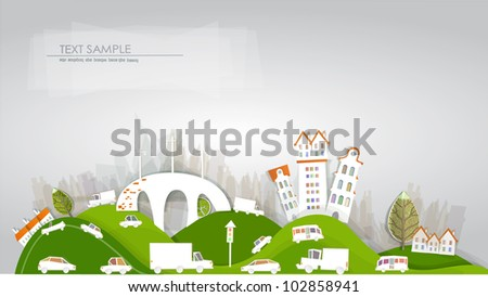 City and roads background - stock vector