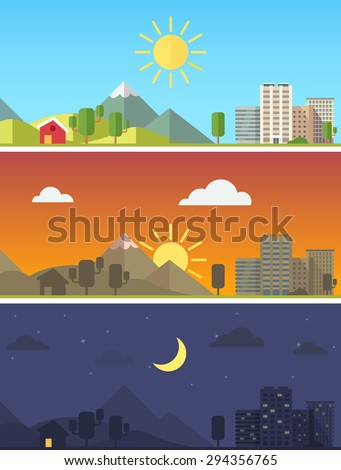 City and rural scenic landscape in different times of day. Flat style vector vector. - stock vector