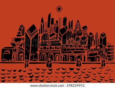 City and seafront - stock vector