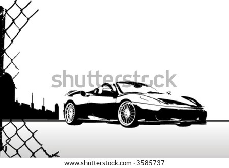 city and sport car vector - stock vector