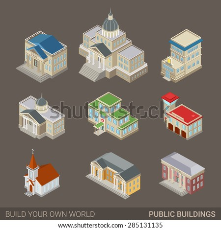 City architecture public government buildings flat 3d web isometric icon set. Mayor office bank police court house hospital fire station church museum post. Build your own world infographic collection - stock vector