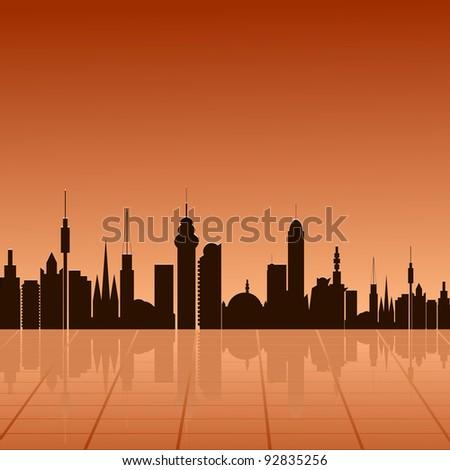 City  at dawn. vector - stock vector