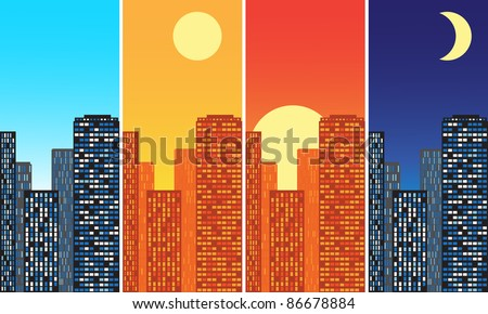 city at different times - stock vector