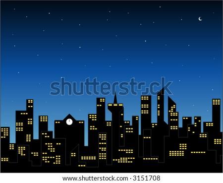 city at night - stock vector