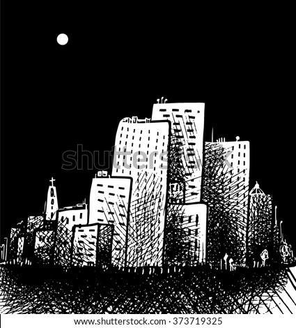 City at night - stock vector