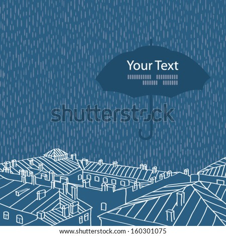City at night in the rain - stock vector