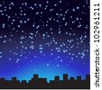 City at night. The starry sky. Vector illustration. - stock vector