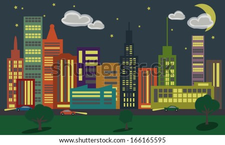 City at Night vector illustration - stock vector