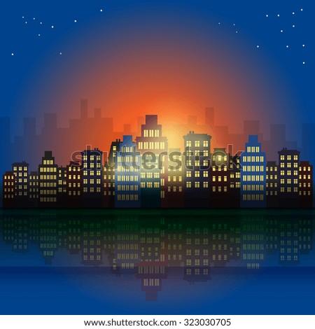 City at night, vector illustration - stock vector