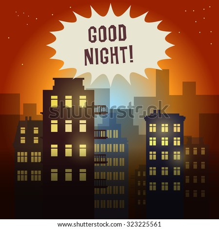 City at night, vector illustration - stock vector