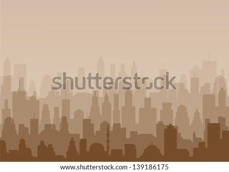 City Background, brown vector - stock vector