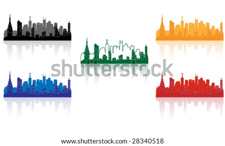 city background five color edition - stock vector