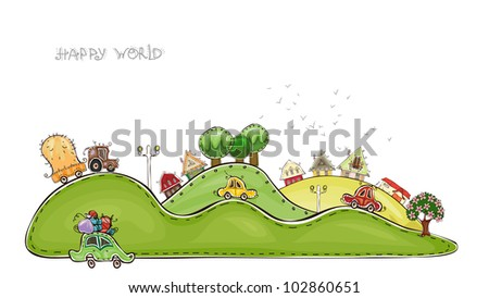 "city background ""Happy world"" collection"