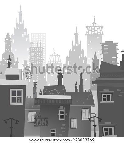 City background made of different building silhouettes - stock vector