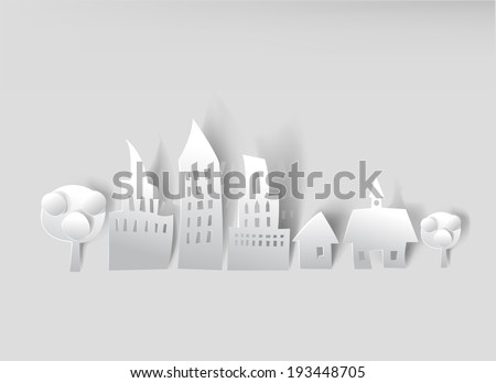 City background made of white paper  - stock vector