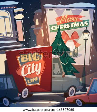 City background. Merry Christmas illustration.