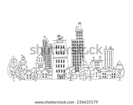 City background, Sketch - stock vector