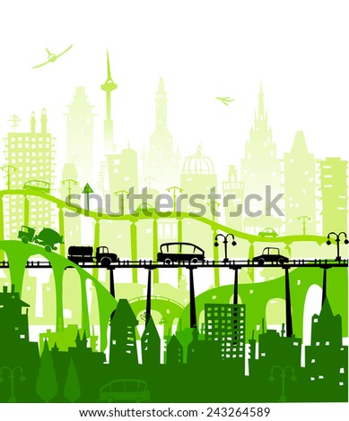 City background with bridges and roads - stock vector