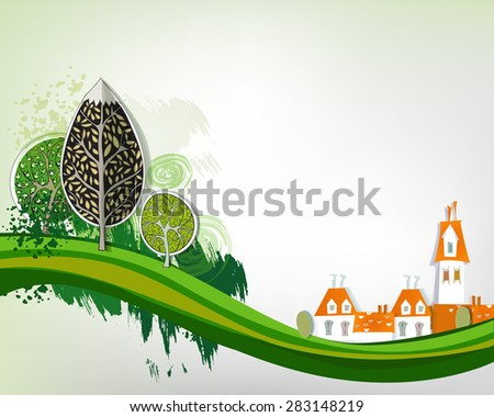 City background with green trees - stock vector