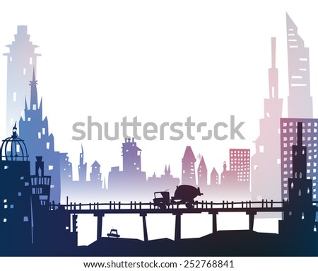 City background with roads, bridges and cars - stock vector